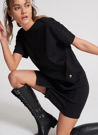 Pi π Çıt Çıt Detaylı Elbise Siyah
